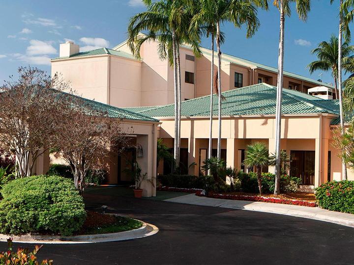 Hotel exterior entrance.
