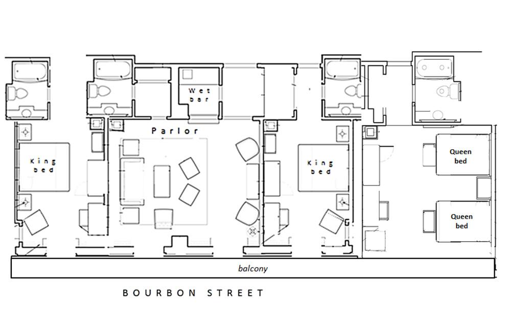 Center Bourbon Balcony Hospitality Suite