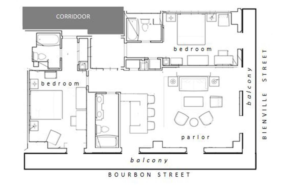 Corner Room Bienville Balcony Hospitality Suite