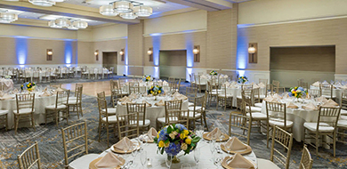 Banquet Hall in Morristown NJ with Circle Tables, Chairs, and Dance Floor