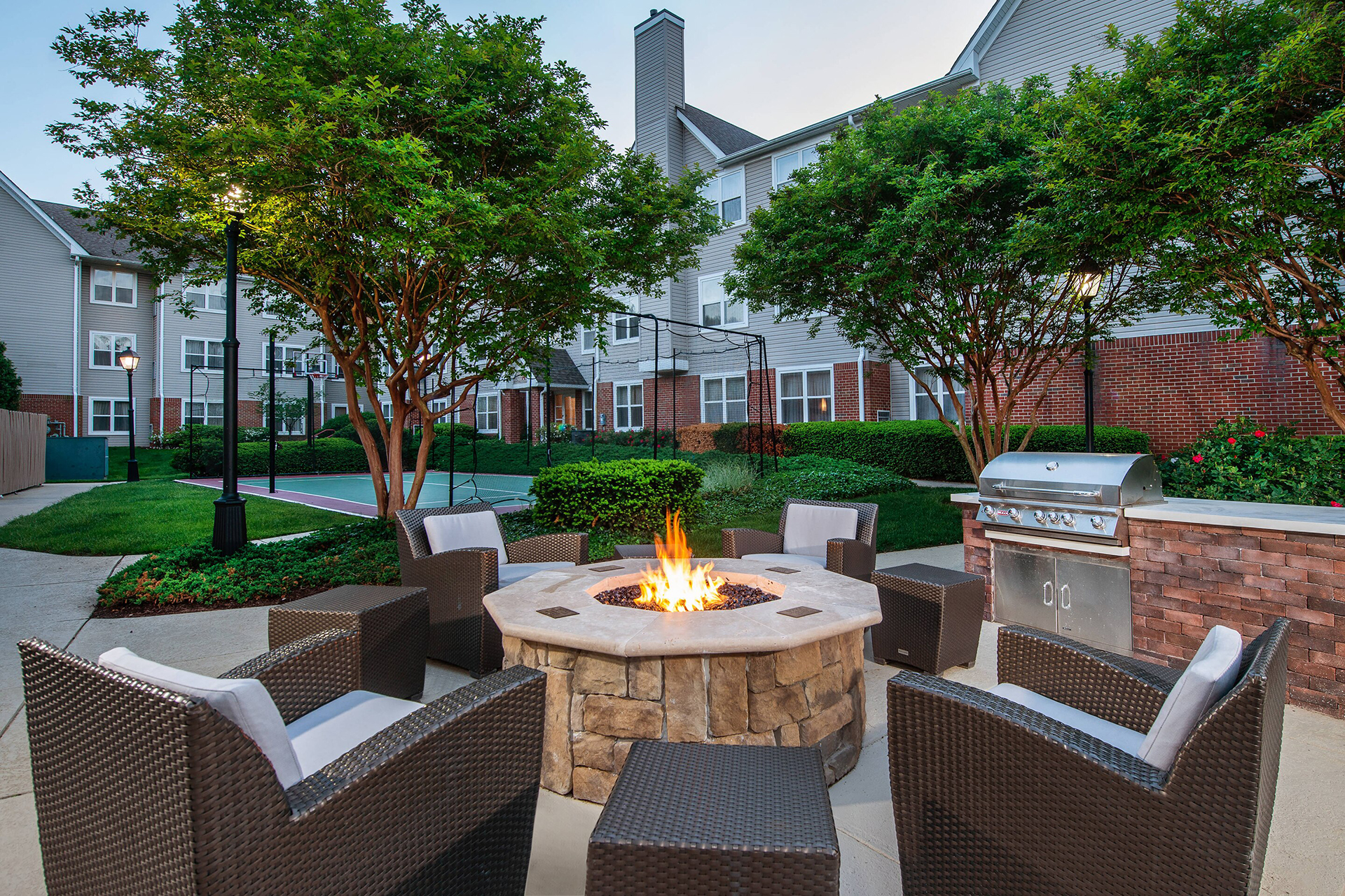 Outdoor Fire Pit and Sport Court